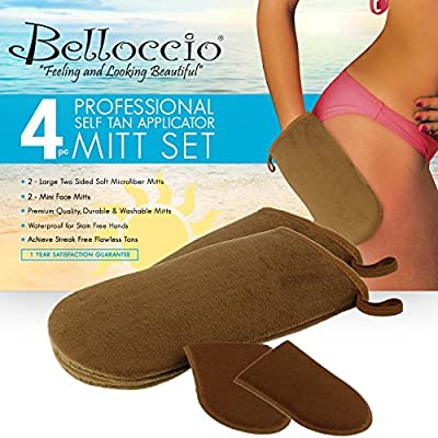 Belloccio Set of 4 Premium Self Tanning Applicator Mitts; 2 Double Sided Premium Large Mitts and 2 Mini Facial Tanning Mitts for Sunless Tan Lotions and Sprays