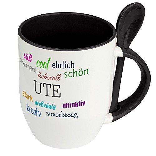 Löffeltasse mit Namen Ute - Positive Eigenschaften von Ute - Namenstasse, Kaffeebecher, Mug, Becher, Kaffeetasse - Farbe Schwarz