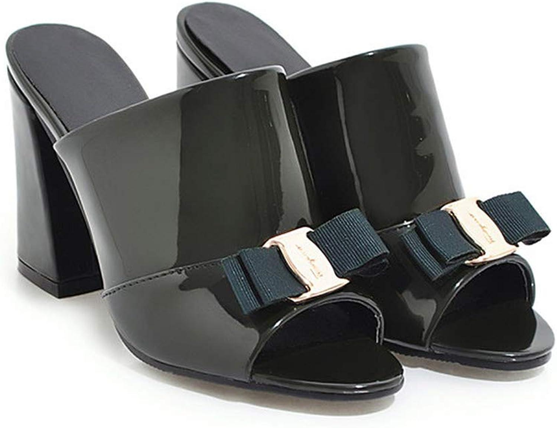 Eora-2sl Women shoes Summer High Heels Peep Toe Ladies Party shoes Bow Block Heel Female Slipper Outdoor Red Black