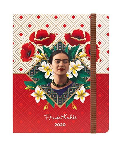 Erik - Agenda Premium Settimanale 2020, 17 mesi, 16,5x20 cm, copertina rossa floreale, perfetta per scuola o lavoro - Frida Kahlo