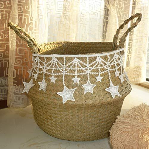Handgemaakte bamboe mandje Storage mand vouwen kleren Clthoes rieten plant bloeit stro rotanmand buik in de pot tuin,ster,27cmX23cm