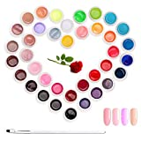 Janolia UV Nail Glue, 36 couleurs semi-permanentes Gel Nail, UV LED Nail Glue Kit, Kit de manucure avec émail de photothérapie avec pinceau, Nail Art pour Salon Pratique et cadeau
