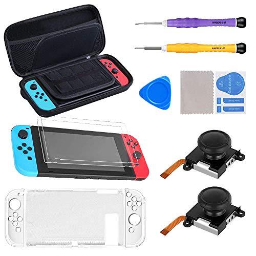 SUPERSUN 11 en 1 Accesorios para Nintendo Switch, Funda para Nintendo Switch con 20 Cartucho de Juegos | 2 Protector de Pantalla | Carcasa de Plastico | 2 Recambios de Joysticks