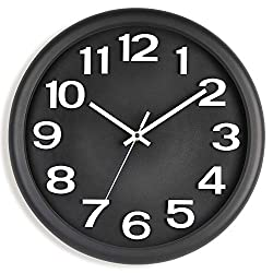 Kpin 13-Inch Large Wall Clock, Non-Ticking Silent Quartz Decorative Clocks, Battery Operated, Round Retro Indoor Kitchen Bedroom Living Room Wall Clocks, Big 3D Number Display (Black 13)