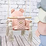 BAMBINIWELT Babyschaukel Babysitz Kinderschaukel Stoff Holz Deckenaufhängung (rosa)