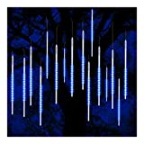 ohCome lluvia de meteoros lluvia gotas luces 50cm 10 tubos espirales 540 LED impermeable Icicle nevadas cadena luces para la boda de Navidad Navidad Halloween Garden Tree Home Decor (Azul)