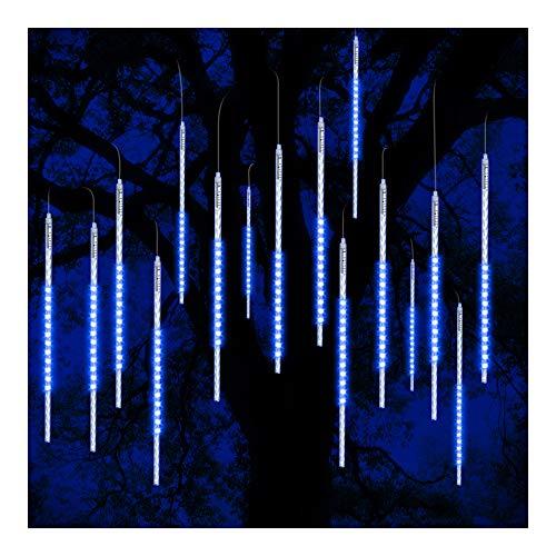 ohCome Météor Douche Goutte De Pluie Lumières 50cm 10 Spirale Tubes 540 LED Étanche Icicle Neige Chute De Guirlande Lumières pour Mariage De Noël De Noël Halloween Jardin Arbre Décor (Bleu)