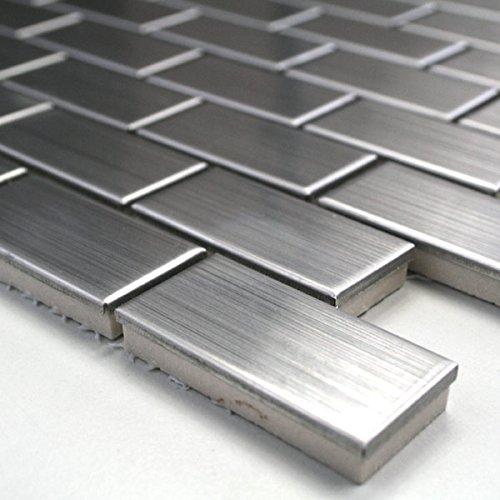 Metall Edelstahl Mosaik Fliesen 23x48x8mm Silber