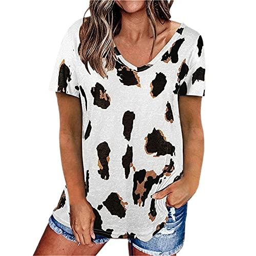 PRJN Tops con Estampado de Leopardo para Mujer Camiseta con Cuello en v Camisa Casual de Manga Corta Camiseta de Manga Corta de Verano para Mujer Camiseta con Cuello en V Camisetas con Estampado