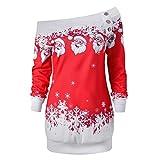 TWIFER Damen Frohe Weihnachten Santa Snowflake Off Shoulder Langarmshirt Pullover (5XL, Rot)