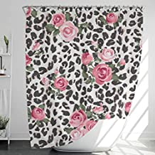 Fabric Shower Curtain with 12 Hooks, Mildew/Mold-Resistant, Water-Repellent/Waterproof, Heavy-Duty, No Liner Needed, Bathr...