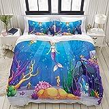 PENGTU Dibujos Animados de Colores Sirena Pescado Print,Juego de Ropa de Cama con Funda...