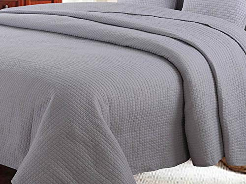 Euromat Zweiseitige Tagesdecke Bettüberwurf Sofadecke Steppdecke 1Tlg. (Ohne Kissenbezüge) (Hellgrau Grau- Guarda, 220x240 cm)