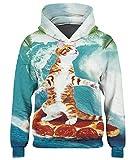 Loveternal Pizza Katze Hoodie Kinder Bunte Unisex 3D Kapuzenpullover Cat Graphic Langarm Sweatshirts für Herren und Damen M