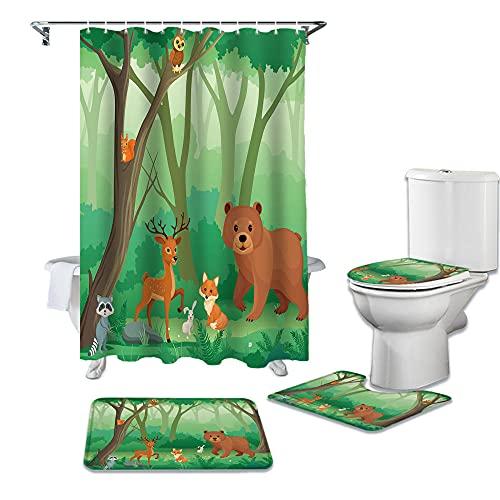 JRLTYU 3D Gedruckter Duschvorhang Grün-gelbe Dschungeltiere Duschvorhang gesetzt Polyester für Badezimmer wasserabweisend & Anti-Schimmel waschbare Badematte 150×180 cm