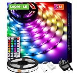 Lepro 5M LED Strip Lights with Remote, 5050 RGB Colour Changing, Plug and Play, Stick-on LED Light for Bedroom, Kitchen, TV, Christmas Indoor Decoration