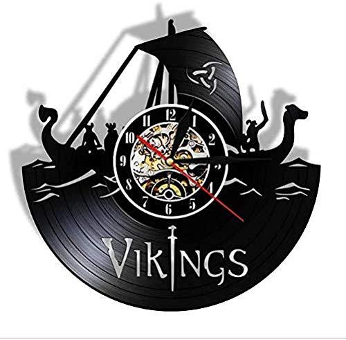 Reloj de Pared con Registro de Vikingos, Reloj de Pared para decoración de habitación de Vikingos, Serie Moderna de Vikingos LP, Reloj de Pared artístico, Regalo de cumpleaños