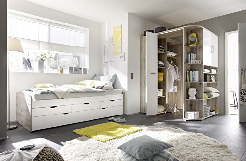 moebel-guenstig24.de Ausziehbett + Eckkleiderschrank Nessi Bett 90cm Einzelbett Schlafzimmer begehbarer Kleiderschrank 146cm Sandeiche Wei�