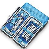 Juego de cortaúñas para recortar 16 cortaúñas profesionales juego de herramientas para el cuidado de pedicura-juego de 16 piezas-elegante azul