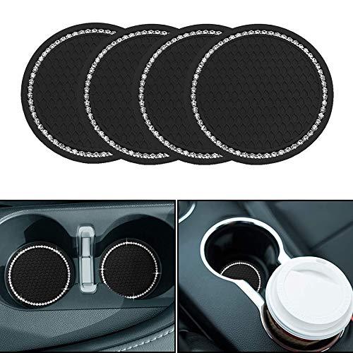 Seamuing Posavasos de auto – 4 unidades de 2.75 pulgadas universal Auto Cup Insert Coaster antideslizante interior del vehículo Tapetes de coche Accesorios para interior del coche (negro)