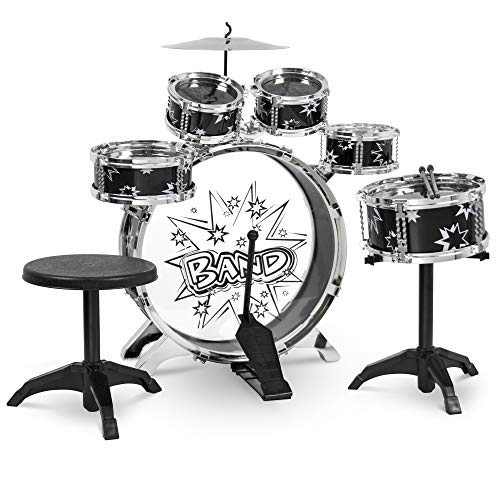 Best Choice Products Kids 11-Piece Starter Drum Set, w/Bass, Tom, Snare, Cymbal, Stool, Black