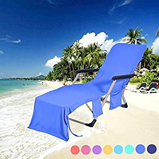 DoMii Lightweight Microfibre Lounge Chair Beach Towel Cover Recliners Towel with Side Pockets for Holidays Sunbathing 84.6