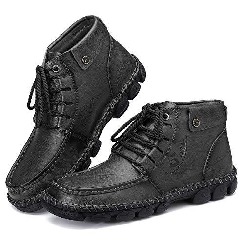 Camfosy, Botas Chukka de PU Cuero para Hombre, Botines cálidos de Invierno, Zapatos de conducción con Forro de Piel sintética con Costuras a Mano Negro EU 46