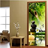 Mural de Pegatinas de Puerta, Pegatinas de Puerta de Paisaje de bambú Verde Creativo Autoadhesivo Mural de Puerta de Sala de Estar Pegatina de Pared póster Foto Papel Tapiz