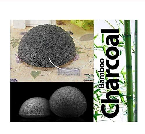 KUSAWE Éponge de maquillage 2PCS Black Natural Bamboo Charcoal Sponge Face Makeup Cleaning Puff Sponges Tools S