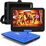 DR. J Professional 12.5' Portable Car headrest Video Player, Region-Free Portable DVD Player 10.5' HD Swivel Screen SYNC TV Remote Control Operate, Rechargeable Battery, AV Cable Car Charger