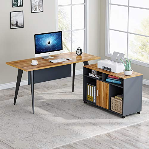 Tribesigns L Shaped Desk, 55 inch Large Computer Desk with File Cabinet Mobile Printer Stand, Modern Executive Office Desk Business Furniture Workstation for Home Office (Walnut)