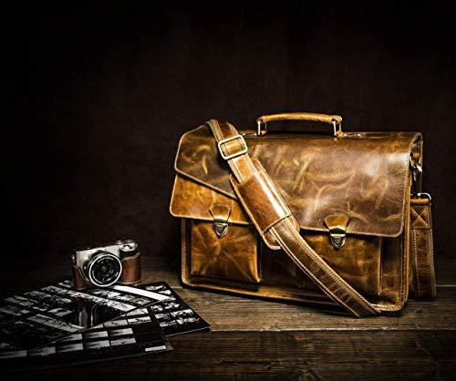 KALATING Personalisierte handgemachte echte Spitzenkorn Leder Herren Aktentasche Laptop Business - Tasche/bis zu 15-17 Zoll Laptop/Braun
