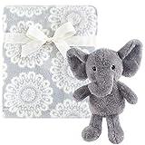 Hudson Baby Unisex Baby Plush Blanket with Toy, Snuggly Elephant, One Size