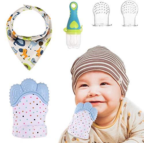 Goldge MIni Guante Dentición Bebé +1 Gasas Bebe Algodon Muselina+1 Chupete Fruta +2 Bolsa de silicona,Protege Manos Bebés Regalo Perfecto para Bebés