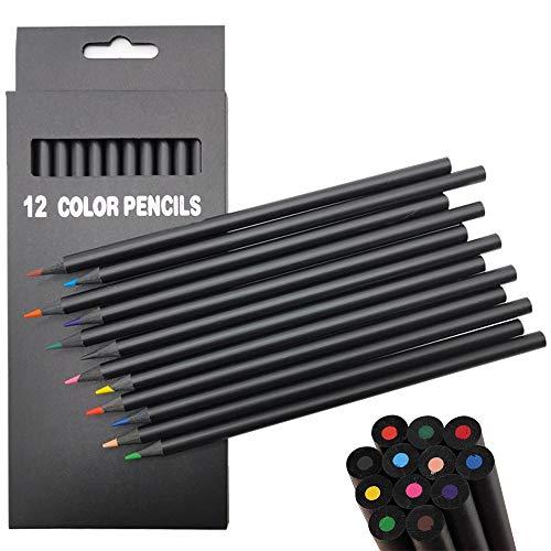 Buntstifte Set, 12 Farben Farbstifte für Erwachsene Kinder Künstler, Schwarzem Holz Malstifte Bleistifte für Zeichnen Malen Ausmalen Schichten, Mischen Schattieren und Malbücher