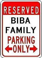 耐久性のある錆びないビジネスサイン、Biba家族駐車場-鉄のポスター絵画ティンサインヴィンテージ壁の装飾カフェバーパブホームビール装飾工芸品