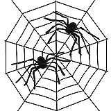 HQdeal Decoraciones de Telas de Araña Halloween 2.5m Telaraña Estirable + 2 Piezas 30cm Arañas Decoraciones para Fiesta de Halloween