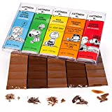 Peanuts Chocolate Snoopy Gift Box | 5 Bars Variety Pack Gourmet Rich Milk & Dark Gourmet Belgian Chocolate | Charlie Brown Valentines Day Gifts for Him & Her | Birthday Candy Treats Holiday Basket