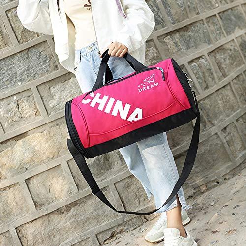 Bolsa de fitness para hombre con compartimento para zapatos (color rosa, tamaño: L)