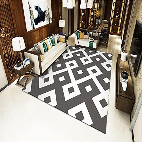 alfombras cuadradas,Alfombra de patrón geométrico, fácil Tienda Moderna Almohadilla de rastreo Alfombra Caliente ,Alfombra Pasillo -Gris_100x200cm