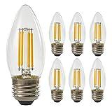 E26シャンデリア4W LED 電球 2700K 電球色40W 形相当 360度全方向発光クリアタイプ 蝋燭型 電球(6個入り)