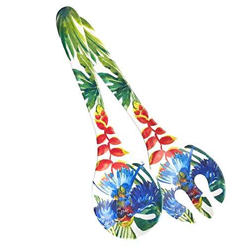 Les Jardins de la Comtesse - Couverts à Salade de Service en Mélamine Pure - Oiseaux Tropicaux - 33 cm – Bleu/Vert - Couverts de Service de la Collection de Vaisselle Quasi-Incassable MelARTmine
