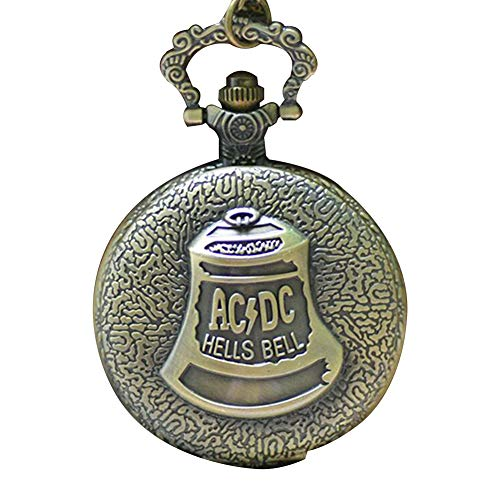 Moligin Mujeres Bolsillo análogo Cuarzo Bolsillo Bronce Vintage Cadena Collar Bolsillo Reloj lwatch Bloqueo de Armadura patrón Collar Colgante Bolsillo Reloj