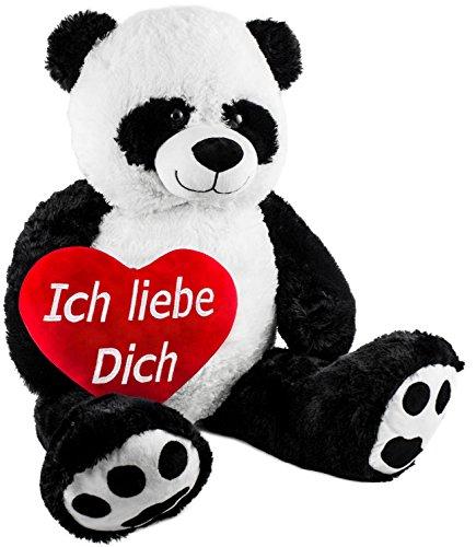 Brubaker XXL Panda 100 cm groß mit einem Ich Liebe Dich Herz Stofftier Plüschtier Kuscheltier Teddybär