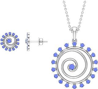 1 CT Tanzanite Swirl Jewelry Set (AAA Quality)
