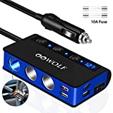 OOWOLF QC 3.0 Zigarettenanzünder USB, 180W Schnellladung Zigarettenanzünder USB 12V/24V, [7 in 1]...