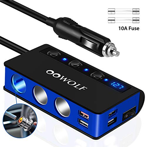 OOWOLF Chargeur de Voiture,Adaptateur Allume Cigare Prise Secteur QC3.0 Charge Rapide 4 USB Ports 3 Prises 180W 12V / 24V pour iPhone,Samsung,iPad,GPS etc.