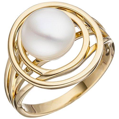 JOBO Damen Ring 585 Gold Gelbgold 1 Süßwasser Perle Perlenring Goldring Größe 52
