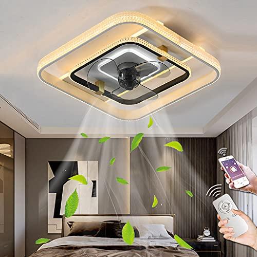 LED Luz De Techo Regulable Con Control Remoto Dormitorio Ventilador De Techo Con Iluminación Silencioso Lámpara Luz De Techo Ventilador Moderno Comedor Sala De Estar Habitación Infantil (Square/White)