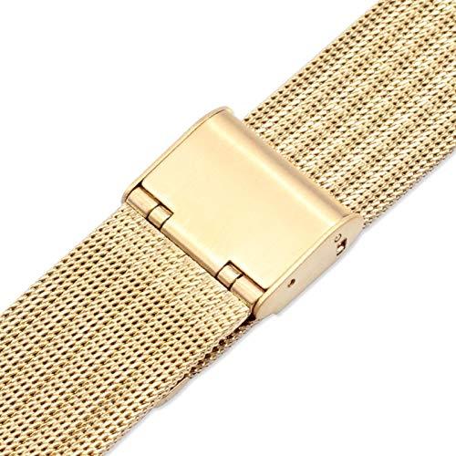 MPWPQ Correa de Reloj de Metal milanés 12 mm 14 mm 16 mm 18 mm 20 mm 22 mm Oro Rosa Oro Plata Ultrathin Acero Inoxidable de Acero Inoxidable Milán Bandas de Reloj de Reloj de Reloj